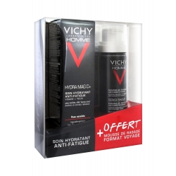 Vichy Homme Hydra Mag C+ Soin Hydratant Anti-Fatigue 50ml + Mousse de Rasage Offerte