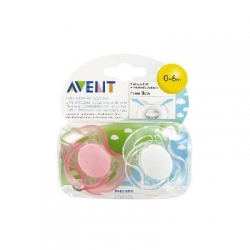 Avent 2 sucettes orthodontiques silicone free flow 0 à 6 mois