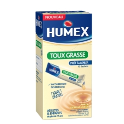 Humex expectorant carbocisteine 750mg/10ml adultes sans sucre solution buvable 15 sachets
